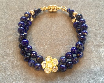 Lapis, crystal flower and gold double strand bracelet