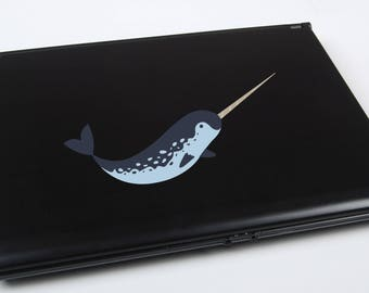 Narwhal Printed Laptop Decal | narwhal sticker narwhal decal cute narwhal whale macbook decal iphone decal narwhal art narwhal decor