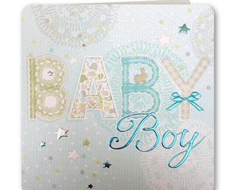 New Baby Card - Baby Boy - Baby Boy Card - Baby Boy Greeting Card - Congratulations - Hey Baby Collection - HB06