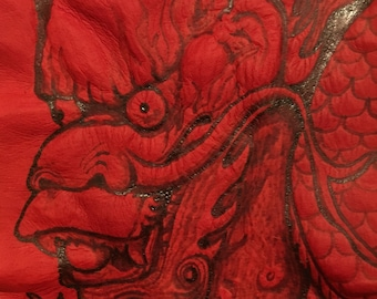 Red Asian dragon leather-burned Patch