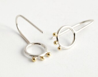 Minimal Silver Circle Drop earrings with brass dots petals seeds