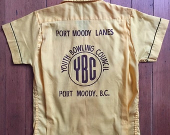 vintage 1960s bowling league blouse // 60s Port Moody BC Bowling team shirt