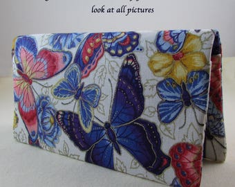 Butterflies Checkbook Cover - Coupon Holder - Multi Color Butterfly Check Book Cover - Checkbook Cover Great Gift Idea - Standard Size