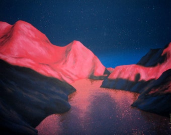 Red planet martian space painting: A lake on Mars