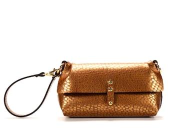 Copper Wristlet | Copper Ostrich Wrist Handbag - Clutch | Vegan | Made in USA