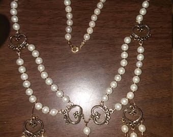 Pearl and Bronze Necklace SET
