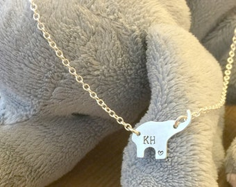 Elephant Necklace, Hand Stamped Sterling Silver Elephant Necklace, Initial Necklace, Name Necklace,Sterling Silver Elephant,Stamped Elephant
