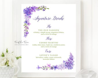 Printable Signature Drinks Sign - Purple Garden