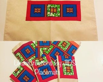 "Elegant Cloth Place-mats  with an African touch (Set of 6)13"" x 19"""