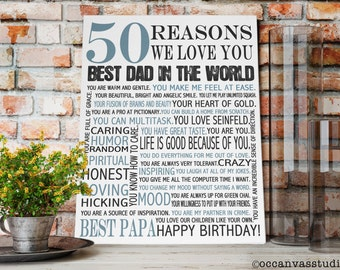 Personalized Birthday Gift, 50 REASONS we Love You, Gift for Dad, Gift for Father, Gift for parent, Custom canvas print, Personalized print