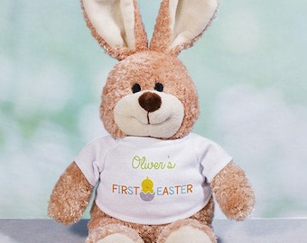 First Easter Personalized Easter Bunny, plush bunny, plush toy, Easter gift for kids, easter basket stuffer, brown, customized -gfy86101068M