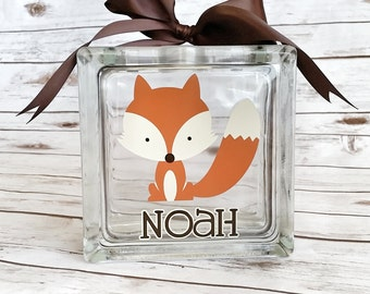 Fox Bank - Personalized bank - Woodland Piggy Bank - childs birthday gift - baby shower gift - nursery decor - glass block bank - woodland