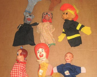 Assorted lot of 9 used Hand Puppets     [geo3571bs]