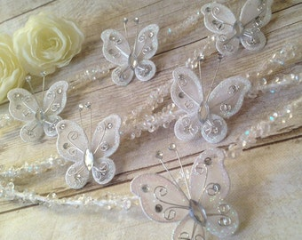 White Christmas 20 Butterfly Ornament Decoration Shabby Chic French Country Feather Tree Floral Wreath Centerpiece Table Top Craft