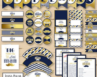 Little Man Baby Shower PRINTABLE Party Package Navy Blue Gold Diy INSTANT DOWNLOAD Pdf LM008