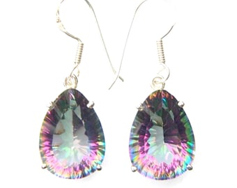 topaz round hook mystic gemstone earrings