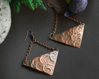 Copper Anniversary Gift Metal Jewelry Rustic Jewelry Hand Hammered Copper Hoop Earrings Statement Hammered Copper Earrings Oxidized Organic