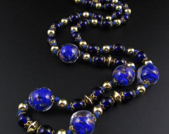 Venetian Glass Bead Necklace, Blue Glass Bead Necklace, Blue Necklace, Glass Necklace