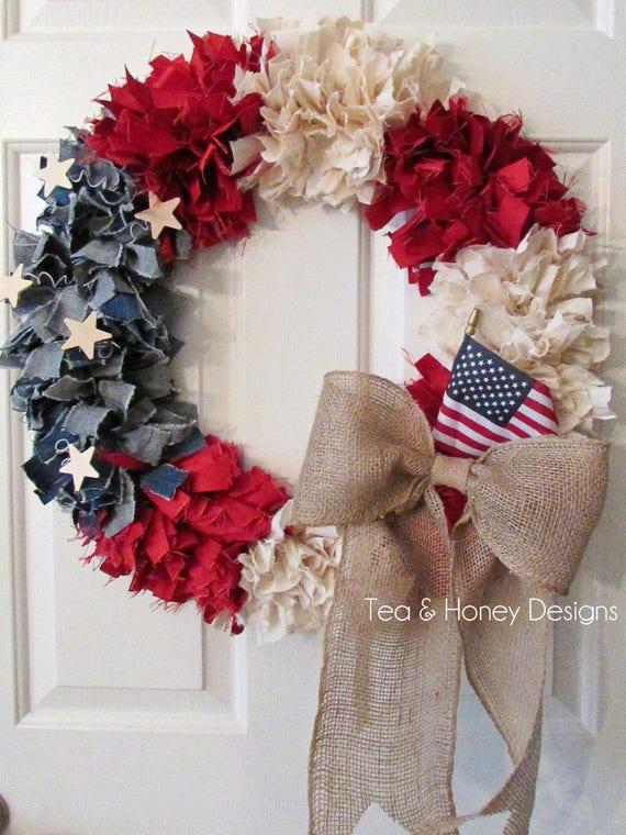 "Patriotic Wreath, 22"" July 4th Rag Wreath, Americana, Rustic Shabby Decor Round"