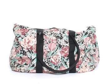 large FLORAL CANVAS 80s 90s DUFFEL overnight travel bag
