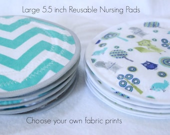 Large 5.5 inch,Combo package,You CHOOSE prints and how many you need, Nursing  Pads, reusable nursing pad,PUL, flannel