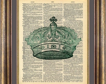 CROWN Royalty Dictionary page art print book page art print up cycled