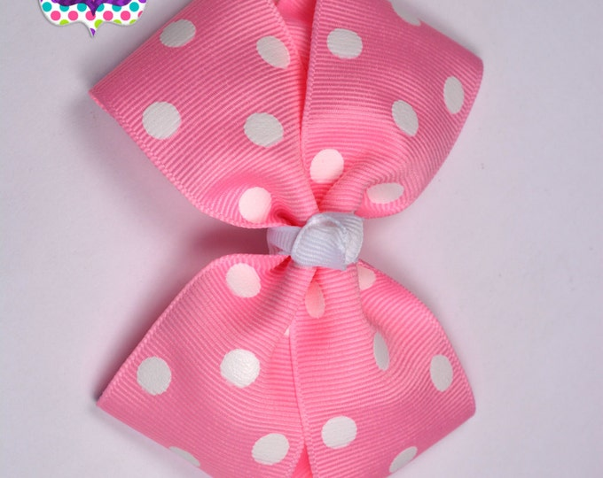 Pink with White Polka Dots Bow Band - Bow on an Elastic Headband Baby Infant Toddler - Girls Hair Bows