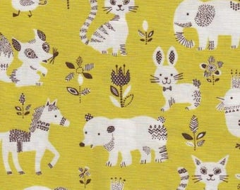 Japanese children Sevenberry fabric - Cotton - pets yellow - background by 50cm (110 x)