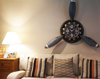 Airplane Wall Clock* The Awesome Propeller Clock (Hand-made)
