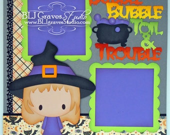 Halloween Witch Boy Girl Premade Scrapbook Page 12x12 Layout Paper Piecing Handmade 23
