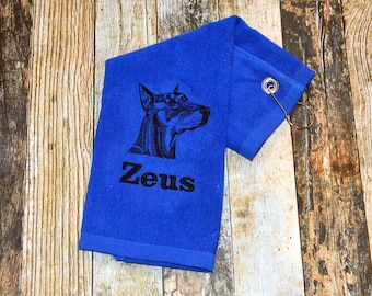Personalized Dog Towel with Hook - Available in Red, Royal Blue, Black or White - Doberman, Bloodhound & more - Choose your Dog Breed