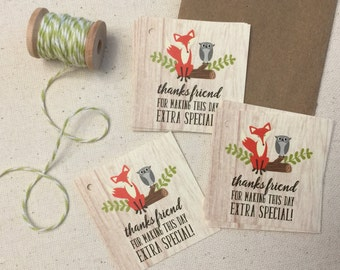Favor Tags in Fox Design -Baby Shower Thank You Tags - Fox Favor Tags - Fox and Owl Tags - Fox Gift Tags