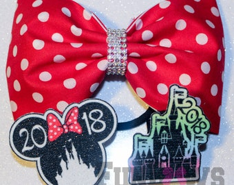 Amazing Original FunBows Design Interchangeable Disney Minnie and Castle Polka Dot Cheer Bow ! - Only by FunBows !