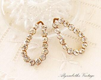 Swarovski Crystal Rhinestone Teardrop Earring Dangles Charms 21mm Long Patina Brass or Antique Silver Drop Settings - 2