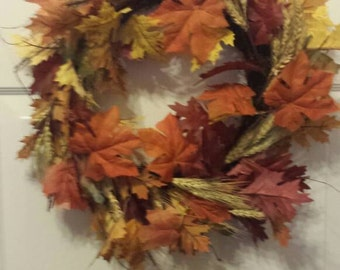 Fall wreath / front door wreath / door wreath / holiday wreath / leaf wreath / faux wheat  wreath F31