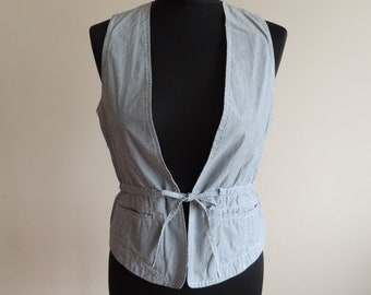 FREE SHIPPING - Vintage SOCCX blue and white narrow striped sleeveless vest with belt, size S