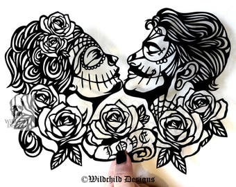 The Lovers Alternative Couple Papercutting Template, Personal Use, Vinyl Template, SVG, JPEG, Sugar Skull, Wedding Template, Engagement