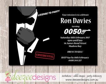 James Bond 007 Birthday Invitation - YOU PRINT - BD143TA