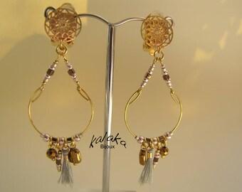 Gold metal clip earrings