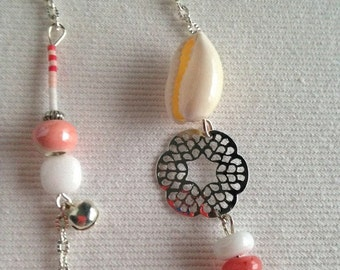 Necklace sautoir silver metal beads ceramic jade rubbles shell and small Tinkerbell