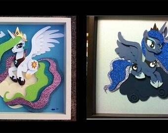 "12""x12"" Princess Luna or Princess Celestia on a Cloud Shadowbox"