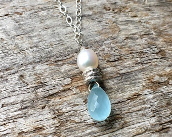 Aquamarine Pearl Necklace, Aquamarine Pearl Hill Tribe Silver Sterling Silver Necklace, Simple Gemstone Necklace