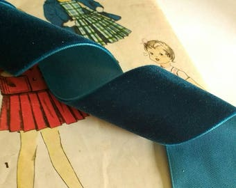 """Dark Teal Blue Velvet Ribbon for Bows, Floral, and Millinery 1.5"""" inch"""