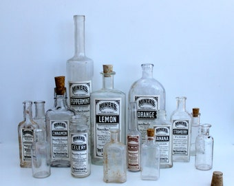 Vintage Medical Bottles with labels