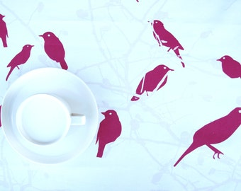 Tablecloth Hot pink birds on pale pink brunches Abstract table cloth , also runner , napkins , curtains , pillows available, great GIFT