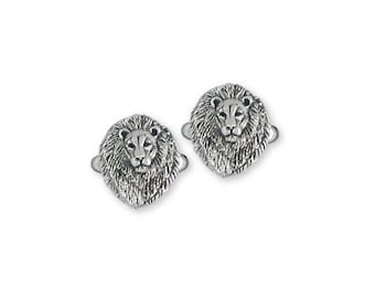 Solid Sterling Silver Lion Cuff Links - LION6CL