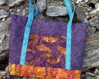 Orange salmon tote bag, purple tote bag, purple and orange tote bag, salmon bag, purple bag, salmon themed bag, Alaskan themed tote bag