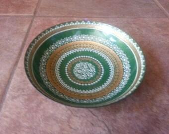 Vintage 1960's Handcrafted Eva Scherer, Austrian Folk Art Enamel On Copper Bowl, Wien Austria, Excellent Condition Greens Gold and White