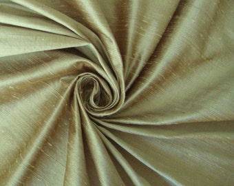 "Light Almond not just beige not just ivory 100% dupioni silk fabric yardage By the Yard 45"" wide"