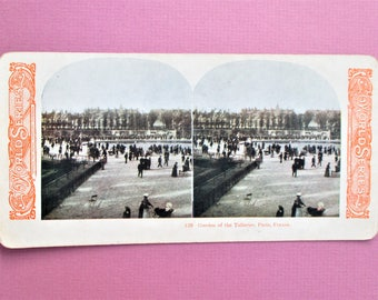 Paris France Antique Stereograph Card Garden of the Tuilleries Stereo View Card Color World Series #129 Kawin Vintage Stereoview Card